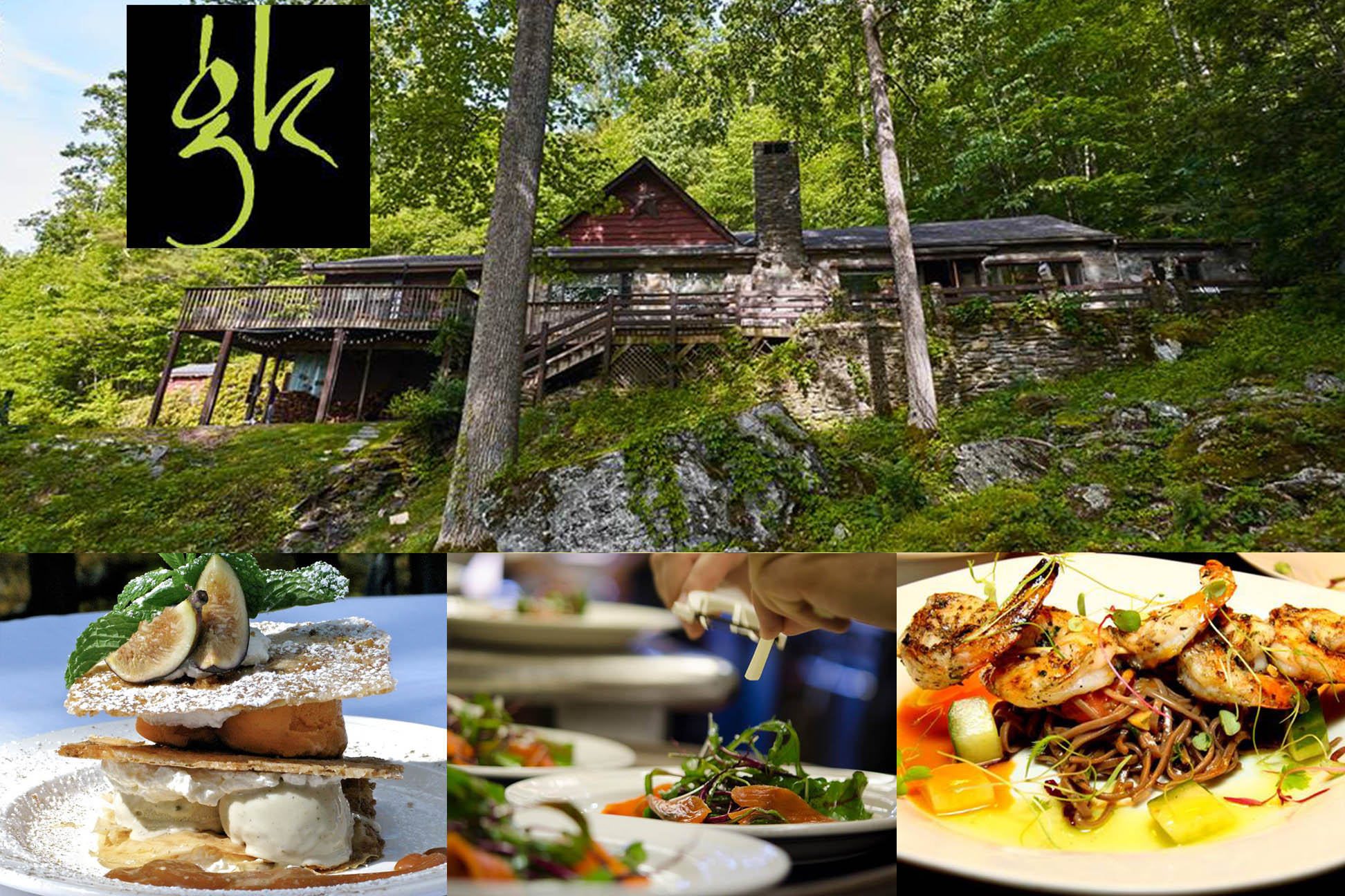 the gamekeeper logo on top left with exterior shot of the building and plattes of delicious food