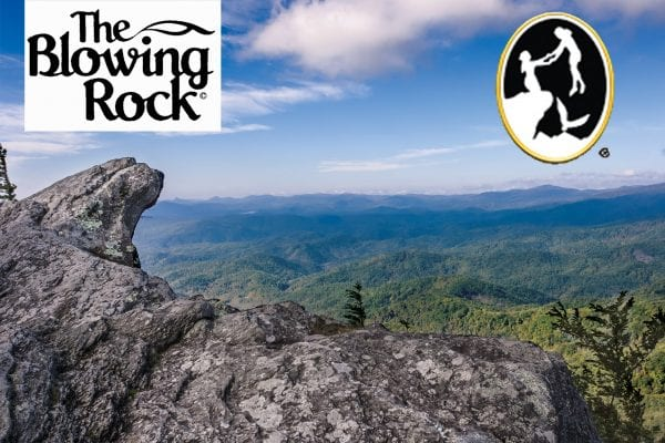 The Blowing Rock logo on top left with image of view from blowing rock