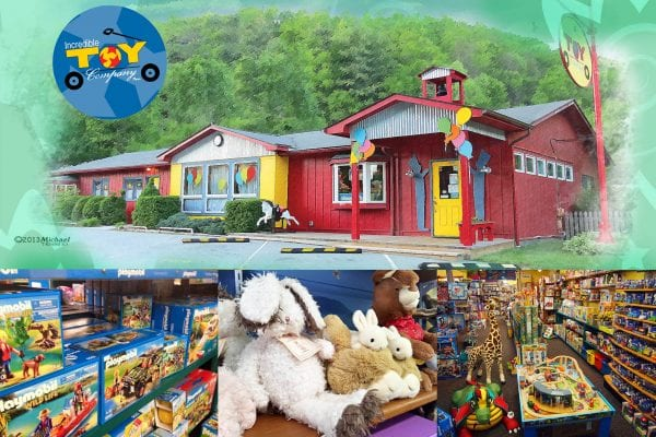 Incredible toy company logo on top left with exterior shot and interior images of store